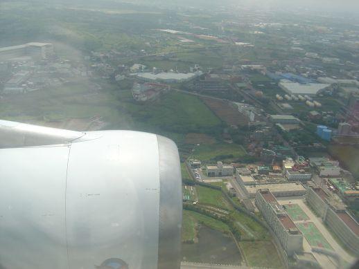 台北国際空港着陸前